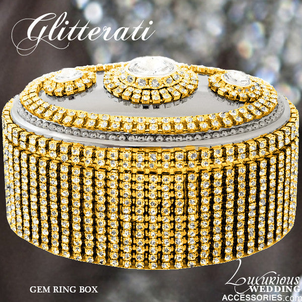 Glitterati Gem Gold Sparkling Crystal Ring Box