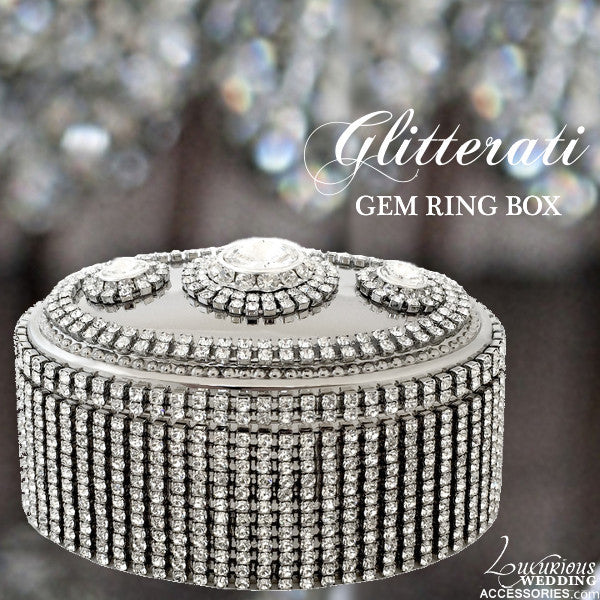 Glitterati Gem Silver Sparkling Crystal Ring Box