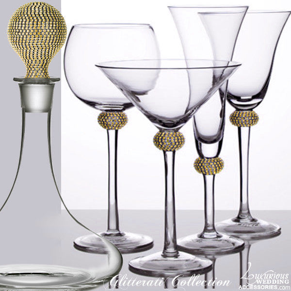 Glitterati Gold Sparkling Crystal Cocktail Glass & Decanter Set