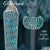 Glitterati Blue Sparkling Crystal Champagne Flutes, Cake Set & Picture Frame