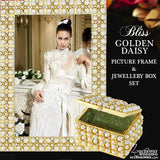 Bliss Golden Daisy Pearl Swarovski Crystal Picture Frame and Jewellery Box