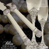 Pearl Ivory Swarovski Crystal Knife & Server and Flutes Set