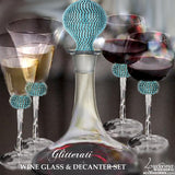 Glitterati Teal Champagne Flutes, Cake Knife/Server & Picture Frame Set