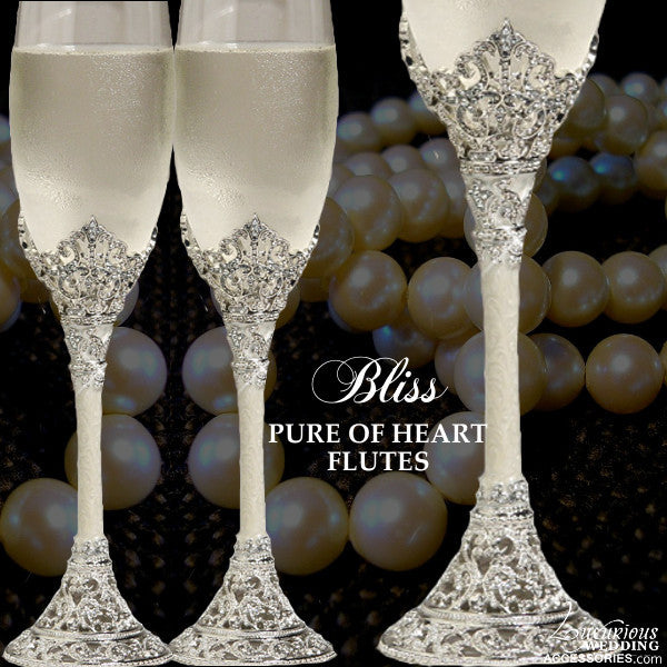 Bliss Pure of Heart Cake Swarovski Crystal Champagne Flutes
