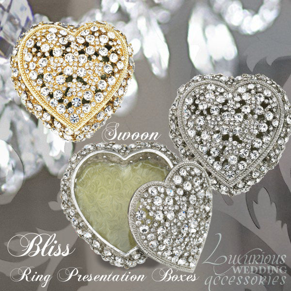 Bliss Crystal Heart Engagement Ring Presentation Boxes