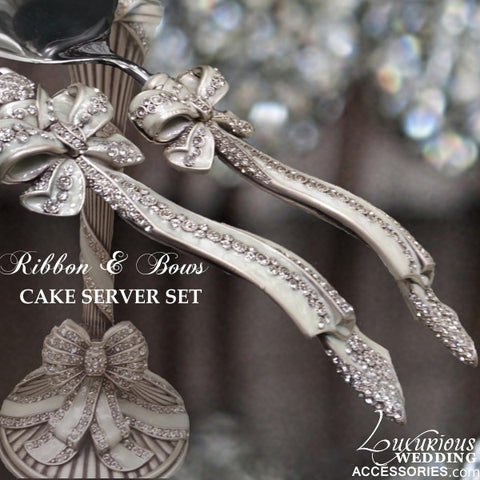 Wedding Cake Cutting Set Ribbons & Bows Silver