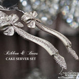 Champagne Toasting Flute Ribbons & Bows Silver