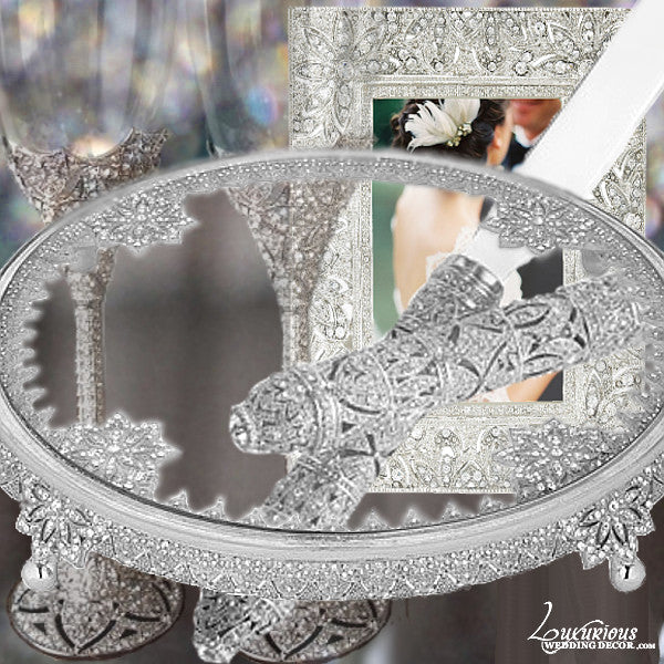 Bliss Fleur Silver Cake Table Display Set