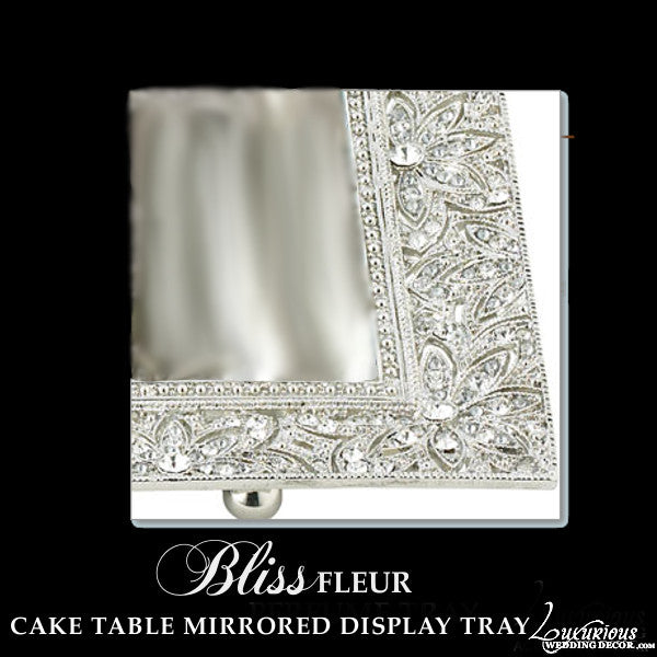 Silver Dessert Mirrored Display Tray Fleur