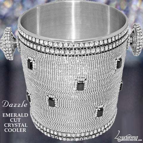 Swarovski Crystal Emerald Cut Dazzle Champagne Cooler Ice Bucket