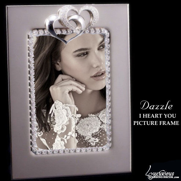 Swarovski Crystal Silver Plated Picture Frame Dazzle I Heart You