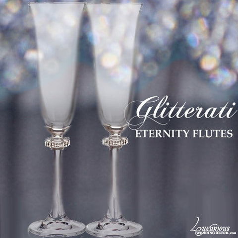 Champagne Flutes with Swarovski Crystal Eternity Band