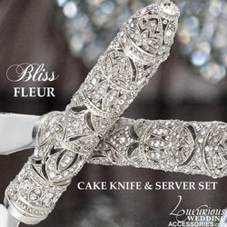 Bliss Fleur Silver Champagne Flutes and Cake Cutting Set