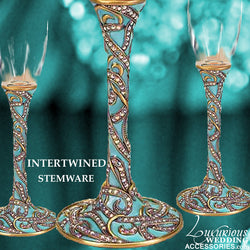 Champagne Toasting Flute Intertwined Teal