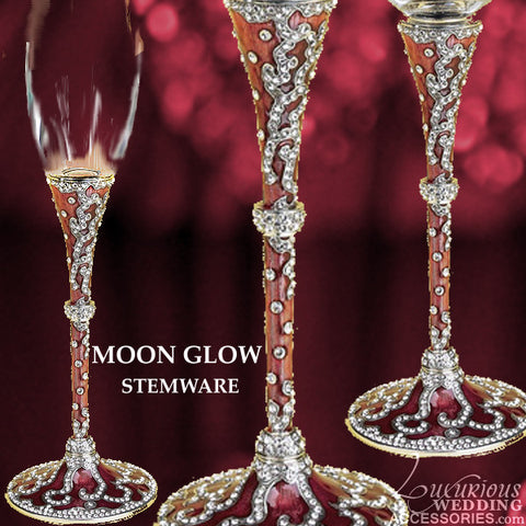 Champagne Toasting Flute Moon Glow Pink Silk