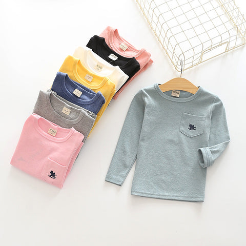long sleeve  cotton shirt for boys girls