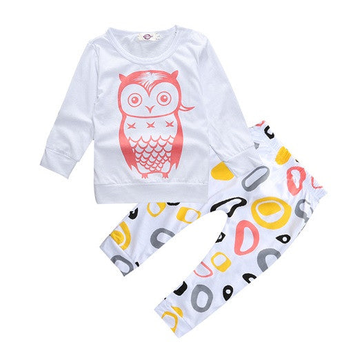 New arrival Baby girl & boys clothes set long sleeve+Pants owl pattern