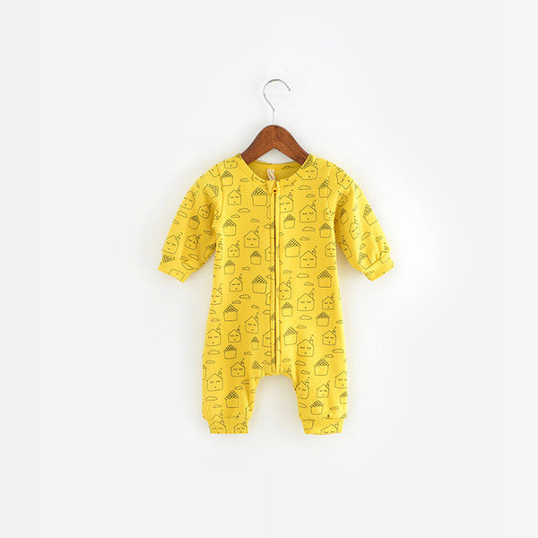 Geometry pattern long sleeve baby rompers