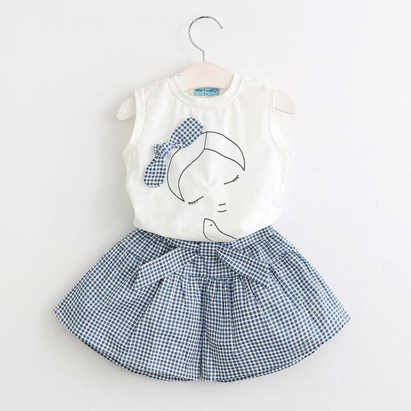 Bear Leader Girls Clothing Sets  Kids Clothing Sets Sleeveless White T-shirt+Plaid Culottes 2Pc Girl Suit