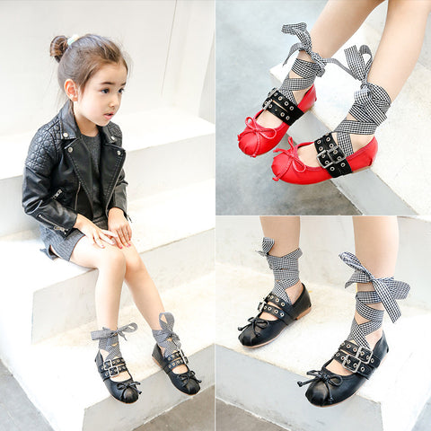 Girls Leather Shoes Cross-Tied  Plaid+Black Ribbon