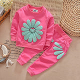 Cute  baby girls sports sunflower clothing set suit