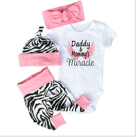 4pcs Newborn Baby Girls Clothes set (Short Sleeve White Bodysuit Tops+Zebra Pants+Headband+Cap Toddler Outfit Set)