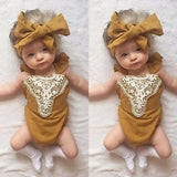 One-pieces Sleeveless  Infant Jumpsuit Lace Outfit  with Headband