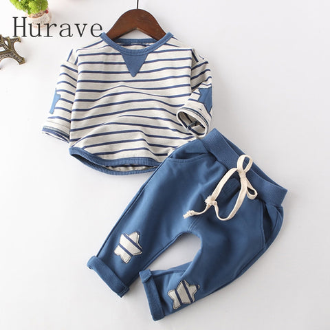 Hurave Infant clothes children spring baby boys clothing sets striped toddler 2pcs star clothes sets boys spring set