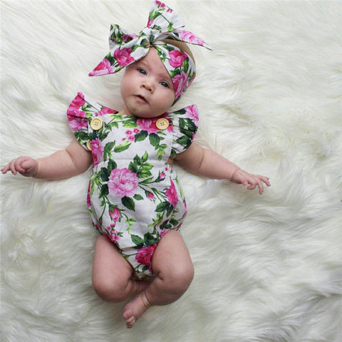 Newborn Infant Baby Girls Clothes square collar sleeveless Bodysuit Floral print Bowknot Headband 2PC cotton casual Outfit