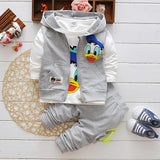 Boys Clothes Suits Cartoon Donald Duck Baby Kids Boys Outerwear Hoodie Jacket Baby Sport Boys Clothing Sets Suits