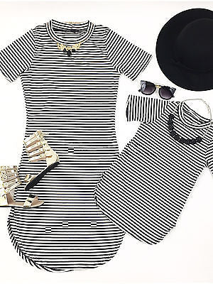 Mother and Daughter Casual Summer Stripe Dress Mommy Me Matching Set Outfits