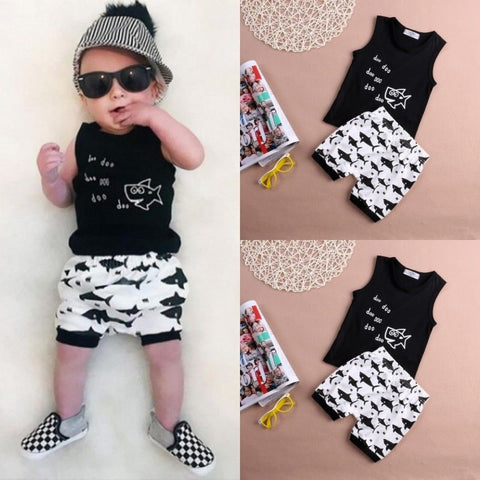 T-shirt + Shorts 2pcs suit  Summer baby girl Boys clothes cotton Sleeveless Vest letter baby boy clothing sets infant