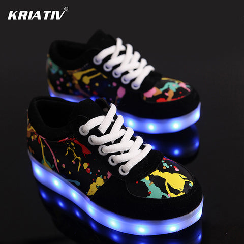KRIATIV USB Charger children led shoes for Boy&Girl glowing sneakers Kids Light Up shoes led slippers Casual Luminous Sneakers