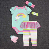 Baby Girl Clothes Set ( Hat+T-shirt+Pants+Socks )
