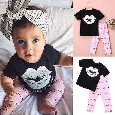 Kids Baby Girls summer clothes set 2pcs suit Lips Tops and eyelash Pink Pant children's clothing sets