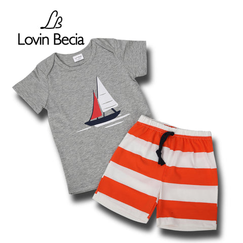 LOVINBECIA  Toddler Baby T-shirt pants newborn Kid boys Summer ferry sport children clothing shorts costume suit cotton sets