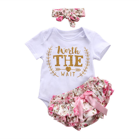 3PCS/Set Cute Newborn Baby Girl Clothes  Worth The Wait Baby Bodysuit Romper+Ruffles Tutu Skirted Shorts Headband Outfits