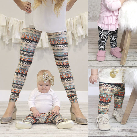 Mother Daughter Matching Pants Outfits Mommy And Me Kids Girls Women Leggings