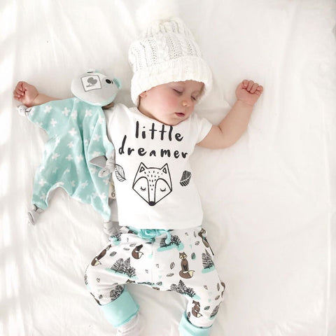 fae9b424cda 0-2Y summer Newborn Baby Boy girl Clothes set little dreamer fox T-shirt