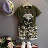 Summer boys clothing set short sleeve T-shirt+shorts 2-piece set boys clothes soldier camouflage casual kids clothes