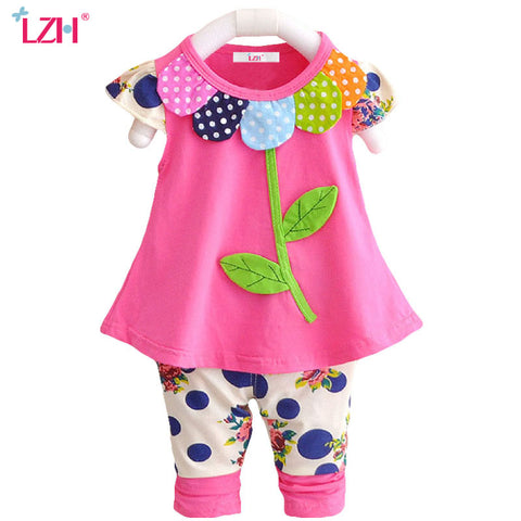 LZH Newborns Clothes  Summer Baby Girls Clothes Set Petals T-shirt+Pants Outfits Baby Girls Suit Infant Clothing Baby Sets