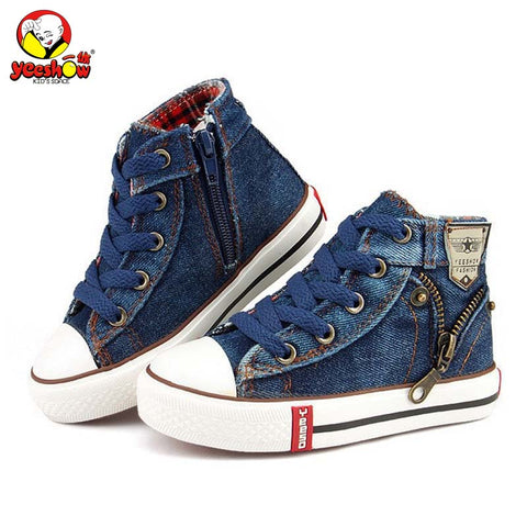 Canvas Children Shoes Sport Breathable Boys Sneakers Brand Kids Shoes for Girls Jeans Denim Casual Child Flat Boots 25-37