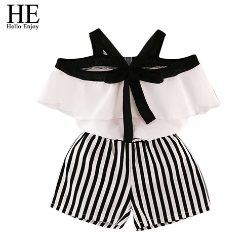 HE Hello Enjoy Summer Girls Clothes Sets Children's Clothing Fashion Girl Shirt Top+Striped Shorts Suits  Kids Clothing 2pcs