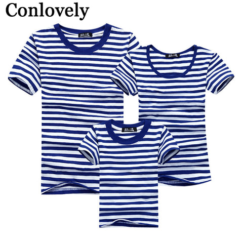 40df76ad Summer T-Shirt Family Clothing Sailor Striped Dad Son T Shirt Family Look  Set Father