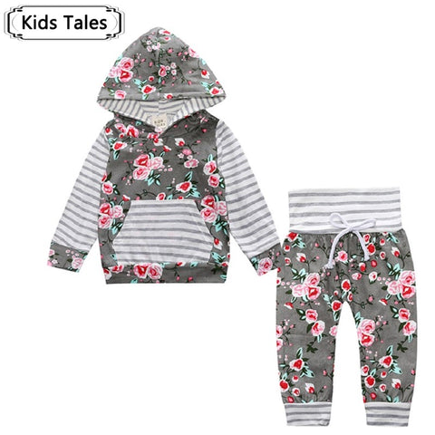Autumn baby boy clothes Children Baby Girls Long Sleeve Hooded Tops Floral pants 2 pcs. clothing set SY188