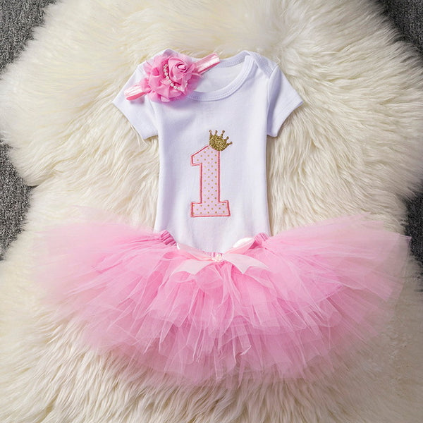 Girls Clothes 1 Year Birthday Party Set Baby Clothing Children Outfit Romper+Skirt+headband Suits Costume For Kids