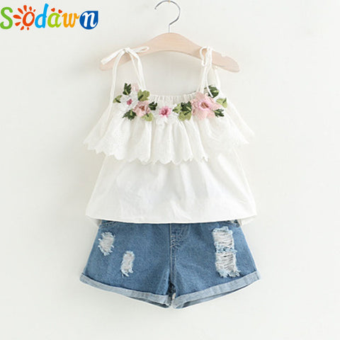 Summer Baby Girls Clothes White Jacket Flower Decoration+Denim Shorts Children Clothes