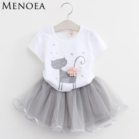 Baby Girls Clothing Sets Fashion Style Cartoon Kitten Printed T-Shirts+Net Veil Dress 2Pcs Girls Clothes