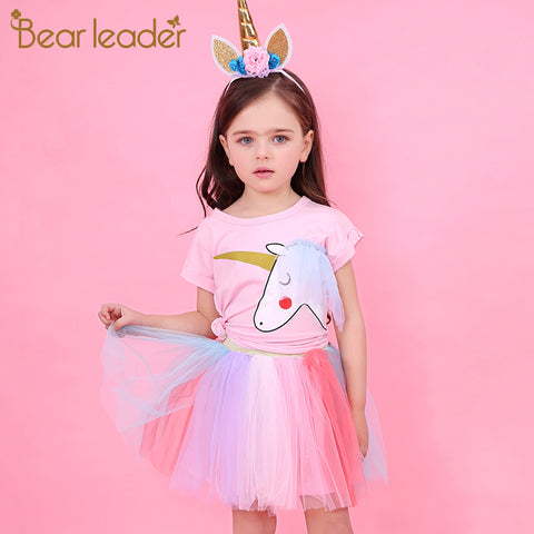 Bear Leader Girl Dress  Summer Casual Style Cartoon Unicorn T-Shirts+Colorful Veil Dress 2Pcs for Girls Clothes 2-6Years