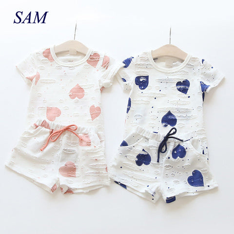 Baby Girls Clothes Sets  Summer Heart Printed Girl Short Sleeve Tops Shirts + Shorts Casual Kids Children's Clothing Suit